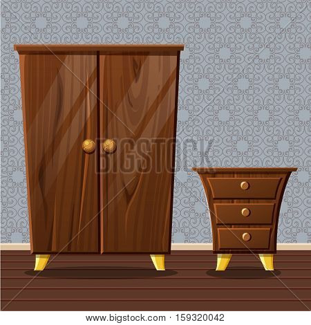 cartoon funny closed wardrobe, Living room wooden furniture in vector