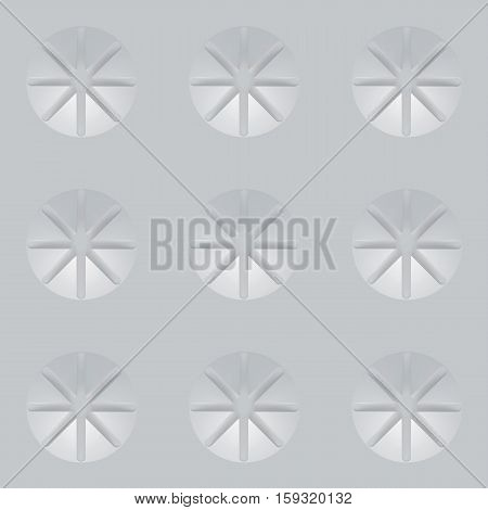 3d seamless texture. White architectural background based on circles divided into eight sectors. Sacred Geometry.