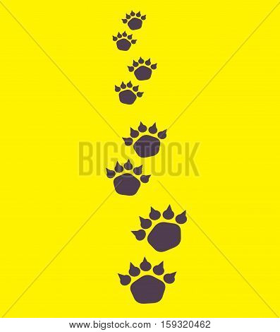 Illustration of bear footsteps. Bear traces on a yellow background
