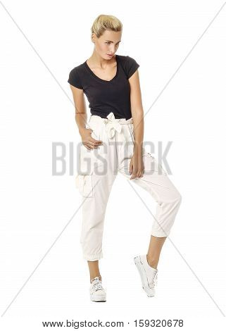 Beautiful Sexual Model Blonde Pose In White Breeches