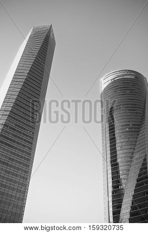 MADRID SPAIN-4 MAY: Monochrome picture of Cuatro torres financial center in Madrid on 4 May 2013. These buildings are the highest skyscrapers in Spain with a height of 250 meters.