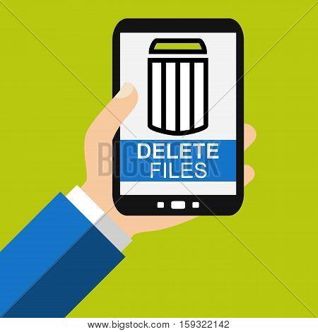 Hand holding Smartphone: Delete Files - Flat Design