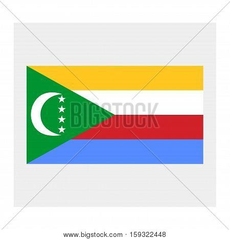 Flag of Comoros on a grey background