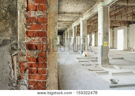 Renovated Building under Construction Site Interior View