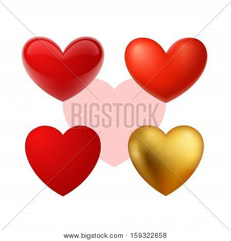 Beautiful realistic vector hearts illustrations. Red, glass and glossy, mat and gold.