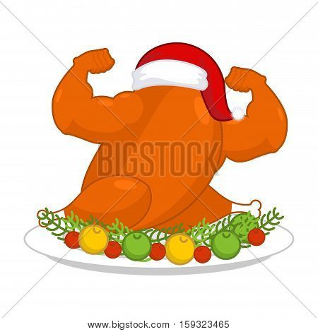 Christmas Turkey Strong In Santa Red Cap. Fitness Food For New Year. Powerful Chicken On Plate. Roas