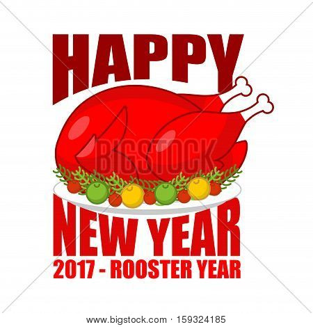 Happy New Year Fried Rooster Symbol Of 2017 . Baked Red Cock On Plate With Apples. Roasted Chicken I