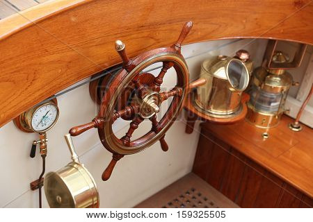 Wooden Rudder and navigation equipments of a sailing ship and