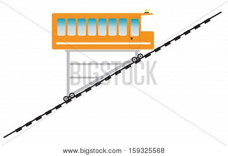 Funicular or cliff rail way Vector Illustration