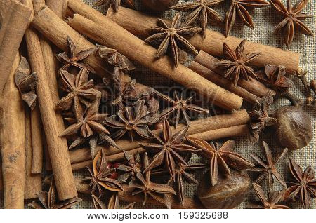 Cinnamon Stick And Star Anise Spice Isolated On White