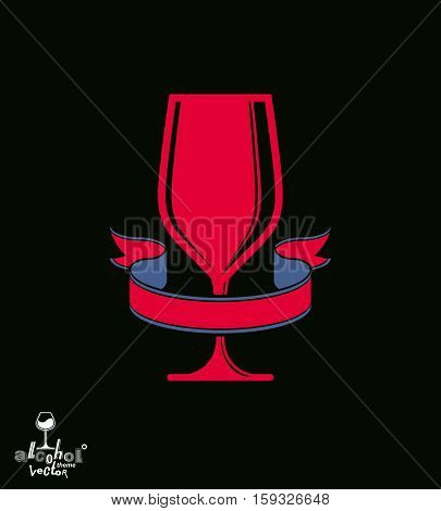 Bright Classic Vector Goblet With Decorative Red Ribbon, Stylish Alcohol Theme Illustration. Lifesty