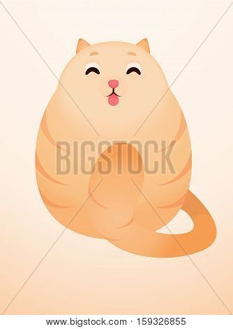 Cute happy red cat vector illustration. Fat kitten.