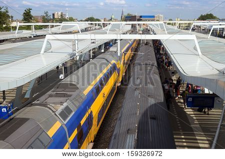 ARNHEM NETHERLANDS - JUL 19 2013: InterCity trains in Arnhem Central Train Station