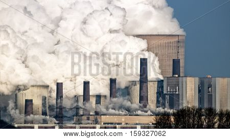 Brown coal power plant with air pollution