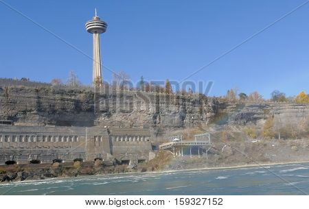NIAGARA FALLS CANADA - NOVEMBER 13th 2016: The Skylon Tower is an observation tower that overlooks Niagara Falls