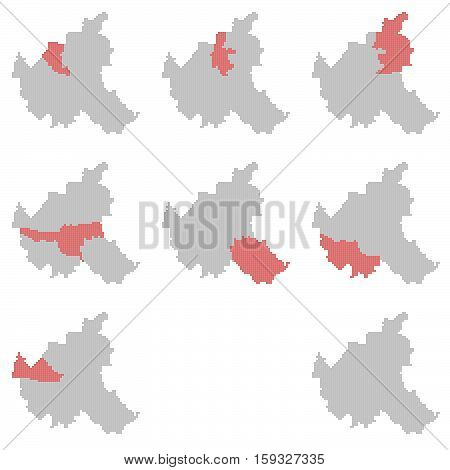 Set of Hamburg isolated red grey District maps