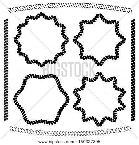 Vector set of frames hexagonal and rounded simulating nautical rope isolated on white background. Vector brushes imitating braided rope included in the file