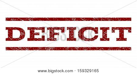 Deficit watermark stamp. Text caption between horizontal parallel lines with grunge design style. Rubber seal dark red stamp with unclean texture. Vector ink imprint on a white background.
