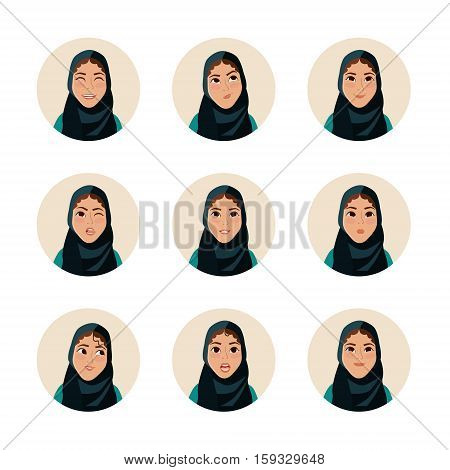 Mimicry  arab woman. Facial expression. Arabic woman avatar.