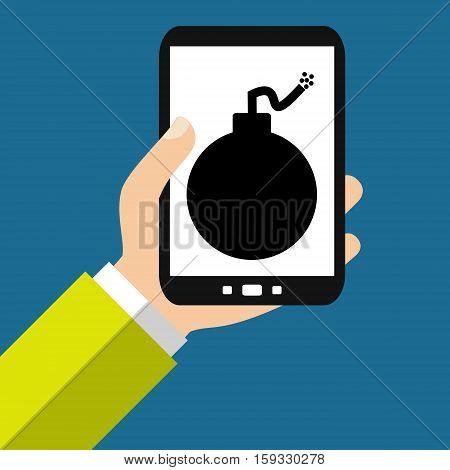 Hand holding Smartphone: Bomb - Flat Design