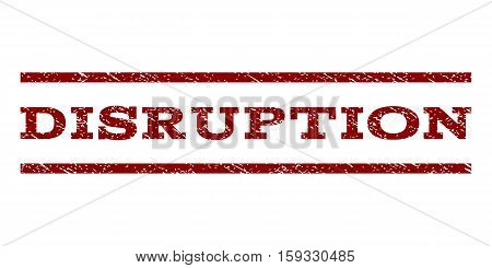 Disruption watermark stamp. Text caption between horizontal parallel lines with grunge design style. Rubber seal dark red stamp with unclean texture. Vector ink imprint on a white background.