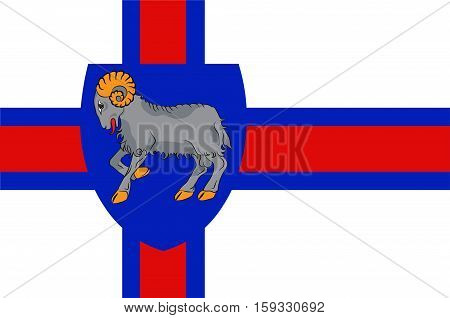 Flag of Faroe Islands is an island country of Denmark Kingdom. Vector illustration