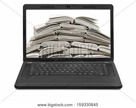 stack of books on a laptop screen isolated on white background