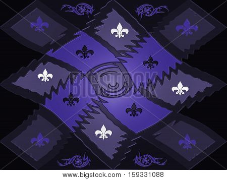 Purple texture style lattice chessboard with beautiful inlays of signs and patterns