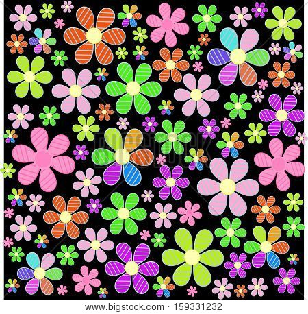 a fabulous field of colorful flowers on the backgroundvector illustration