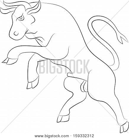 Silhouette Bull rebelling. Vector illustration. White contour