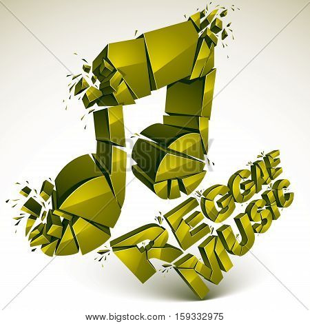 Green 3d vector musical note created from refractions isolated on white. Three-dimensional transform music theme design element. Reggae music theme
