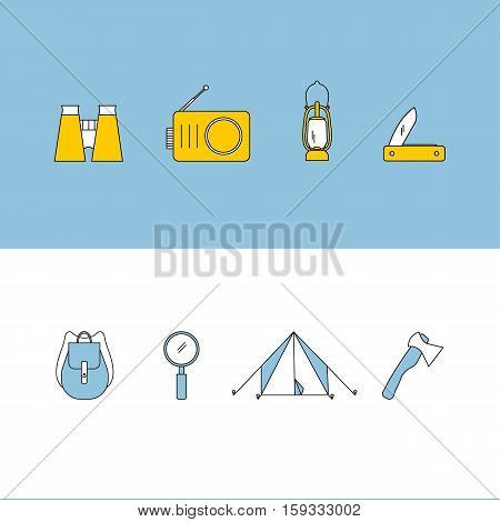 Hiking icons set. Camping equipment vector collection. Binoculars boat lantern tent campfire. Base camp gear and accessories. Camping icon set. Hike outdoor elements.