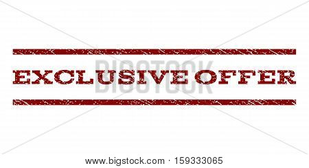 Exclusive Offer watermark stamp. Text tag between horizontal parallel lines with grunge design style. Rubber seal dark red stamp with dust texture. Vector ink imprint on a white background.