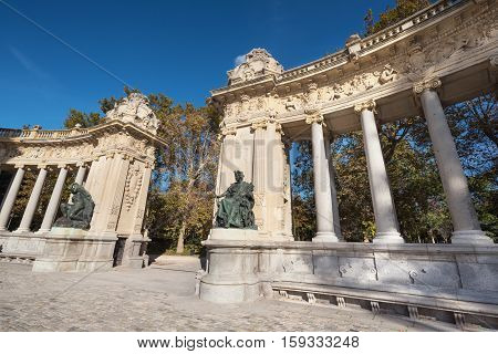 Alfonso XII monument in Retiro park Madrid Spain.