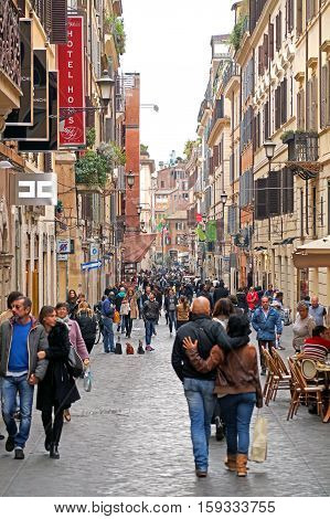 ROME , ITALY - 6 OCTOBER  2015 : Via Della Vite on October 6, 2015 in Rome. Via Della Vite is a busy and fashionable street of Rome, Italy.