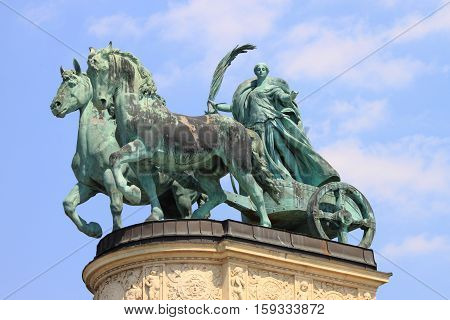 Allegorical statue of Peace in Heroes Square of Budapest, Hungary
