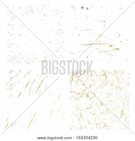Set Grunge gold Distress Texture. Wall Background. Vector Illustration. Simply Place illustration over any Object to Create grungy Effect abstractsplattered dirtyposter for your design.
