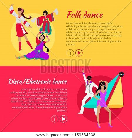 Folk dance and Disco or electronic dance web banner. Electronic dance music, EDM, club music posters. Dance reflect traditional life of people of a certain country or region. Ritual dance. Vector