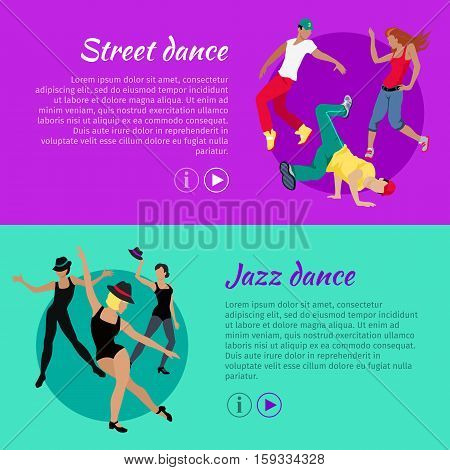 Collection of dancing web banners. Flat style. Street and jazz dance concepts with dancing women and men in modern casual, sportswear and scenic clothes. For dancing club, courses, landing page design