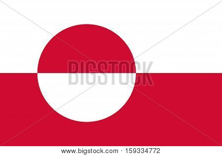 Flag of Greenland is an island country of Denmark Kingdom. Vector illustration