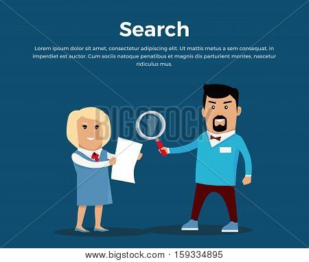Searching concept banner. Flat design. Information searching vector. Picture for web design, data processing illustrating. Man with magnifier and woman with document standing on blue background.