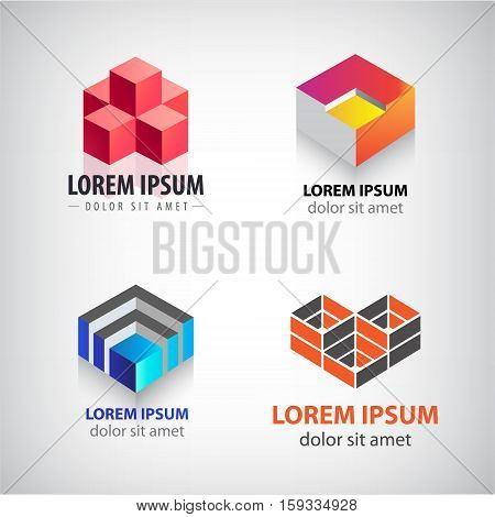 Vector set of 3d cube, geometric structure logos. Building, architecture, blocks colorful icons. Company identity