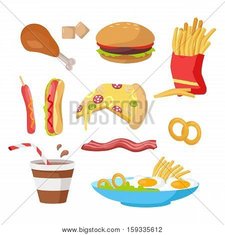 Tasty fast food set. French fries, hot dog, pizza, cola, hamburger, fried eggs, chicken leg, bacon, cereals. Different fast food products collection. Fast food icons Vector illustration