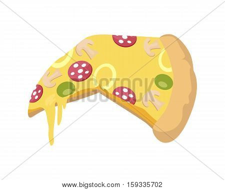 Italian snack with cheese and slices of olives, sausage and tomatoes. Slice of pizza. Fast food. Slice of a Pepperoni Pizza isolated on white background. Illustration of delicious tasty pizza