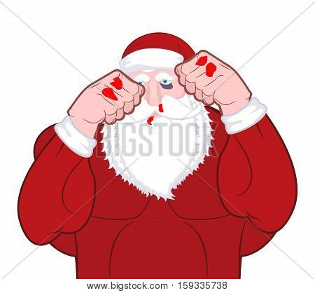 Beaten Santa Claus Fighter. Father Christmas Beats Fists. Old Man Knuckle Beat. New Year Fight