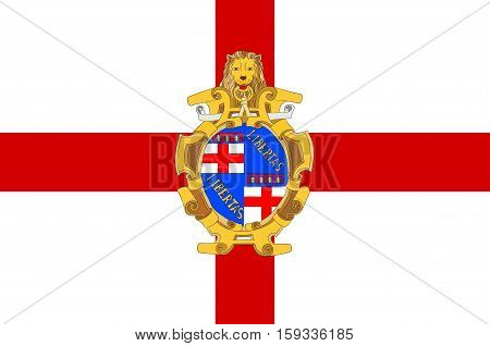 Flag of Bologna is the largest city and the capital of the Emilia-Romagna Region in Italy. Vector illustration