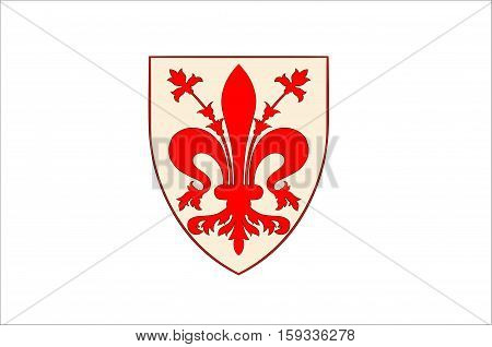Flag of Florence is the capital city of the Italian region of Tuscany and of the Metropolitan City of Florence. Vector illustration
