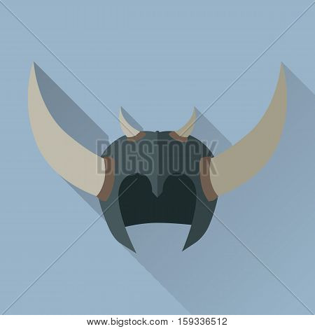 Helmet headpiece with horns isolated. Shield for game. Medieval armour. Weapon symbol icon. War concept. For computer games, mobile appliances. Part of series of game objects in flat design. Vector