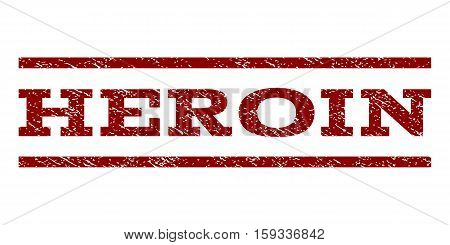 Heroin watermark stamp. Text tag between horizontal parallel lines with grunge design style. Rubber seal dark red stamp with unclean texture. Vector ink imprint on a white background.