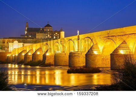 Great Mosque Mezquita - Catedral de Cordoba with mirror reflection and Illuminated Roman bridge across Guadalquivir river at night, Cordoba, Andalusia, Spain